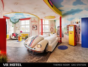 V8Hotel - the automotive themed room GAS STATION WITH HERBIE of our 4-Star themed design hotel is unique, with its own character and loving equipment. The spa area, various gastronomy and caterings and banquet facilities complete the offer.