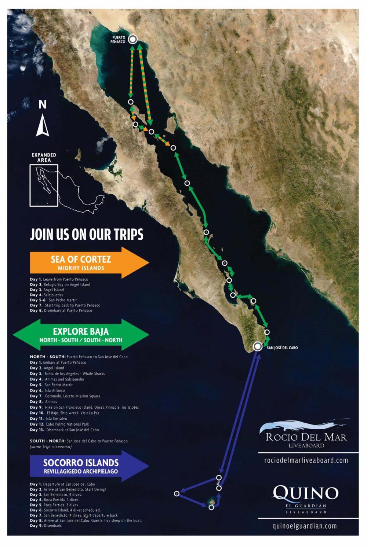 Our diving route, courtesy of Rocio del Mar Liveaboard.