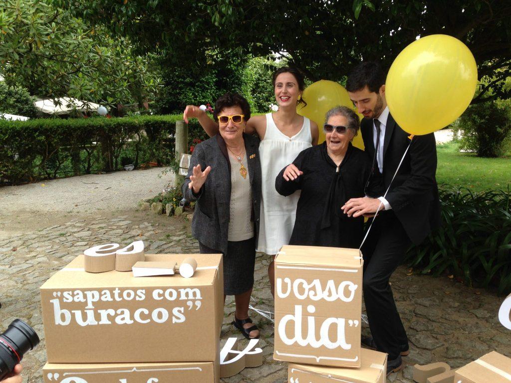 Portuguese Wedding: Pre-ceremonial gathering. Avo (grandma) with her new fancy sunglasses!