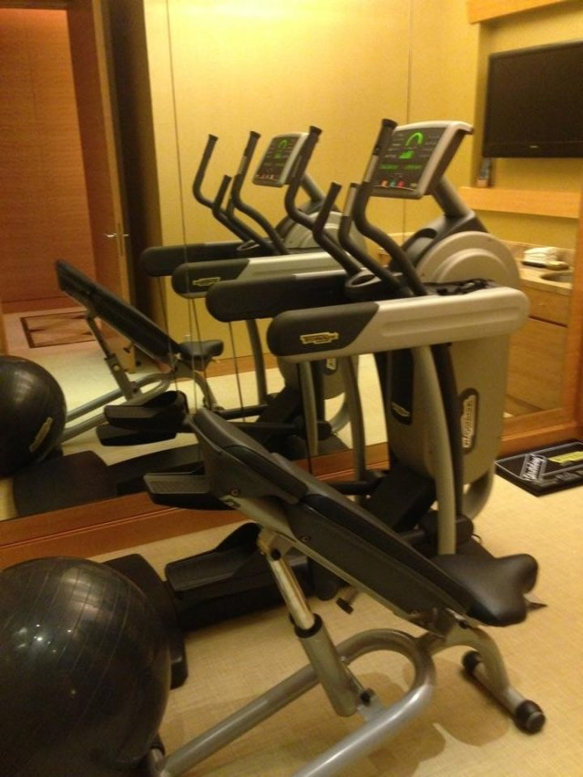 Our private gym at the Marina Bay Sands