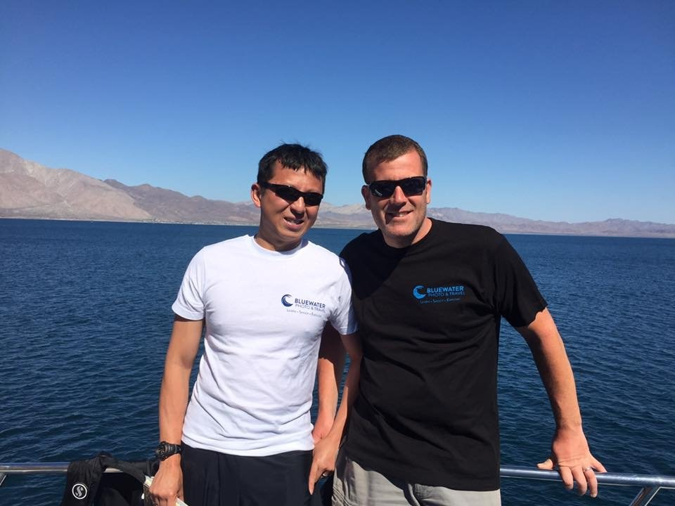 Sea of Cortez - Michael and Halef on the boat top deck