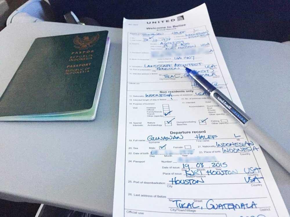 Pen and Indonesian passport. Customs