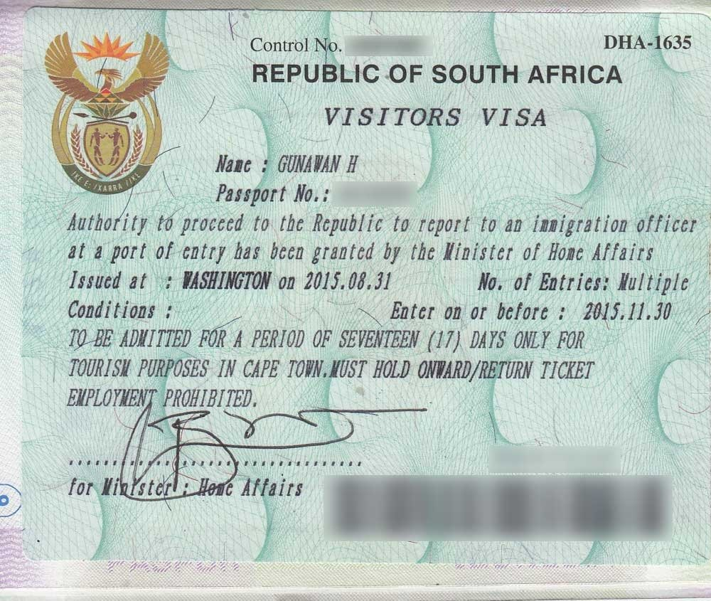 Applying for a visa - South Africa visitor visa