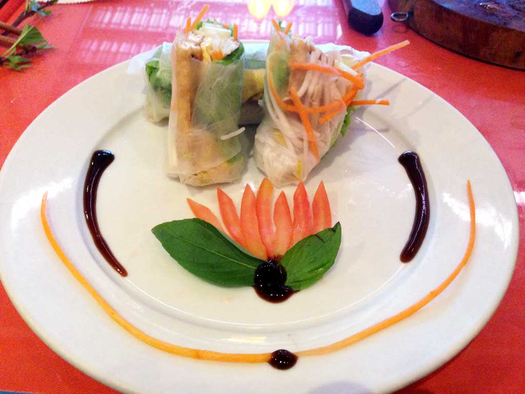 A nicely plated spring roll