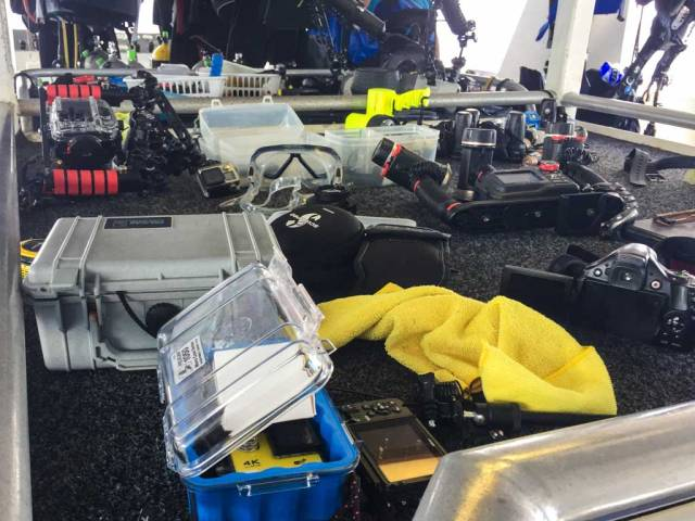 Turks and Caicos Aggressor - The camera table on the dive deck