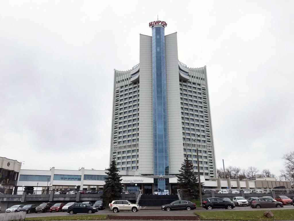 The hotel belarus in minsk rises above the city