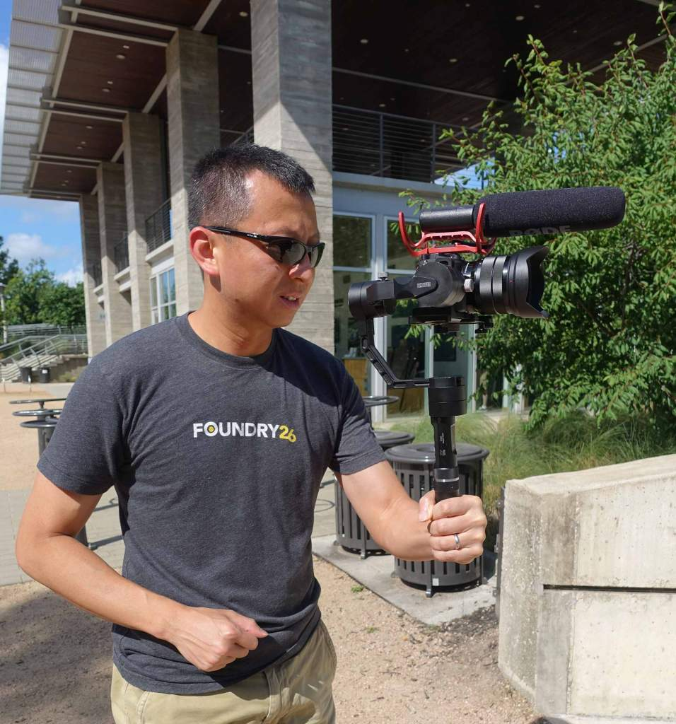 halef holding a camera on a stabilizer