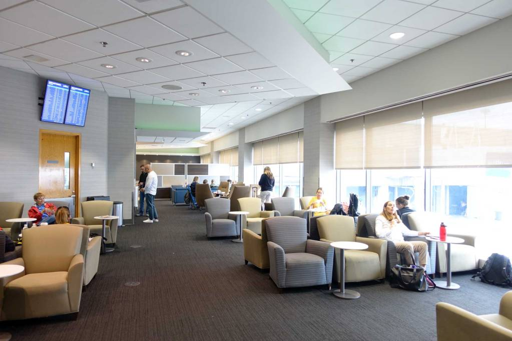seating area at boston airport the lounge