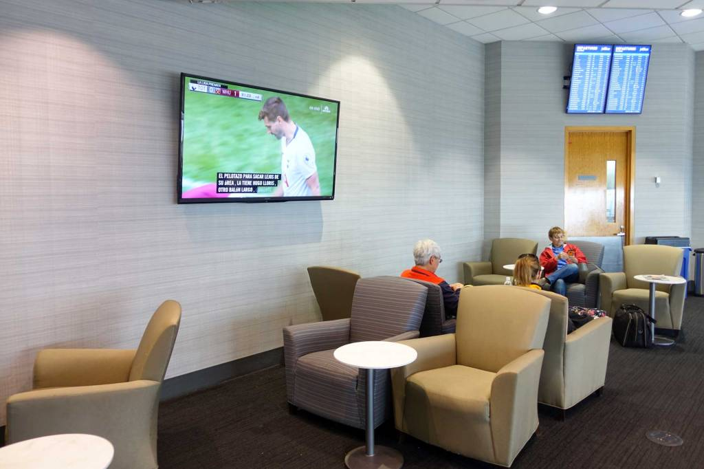 large flat screen tv at the lounge boston