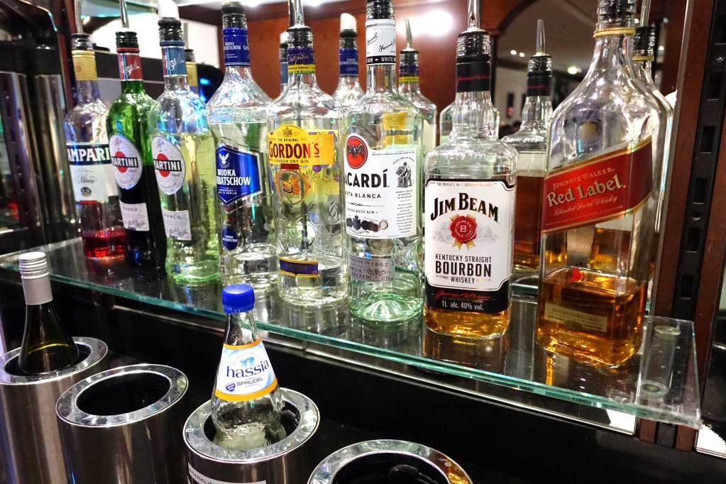 A line of liquor bottles