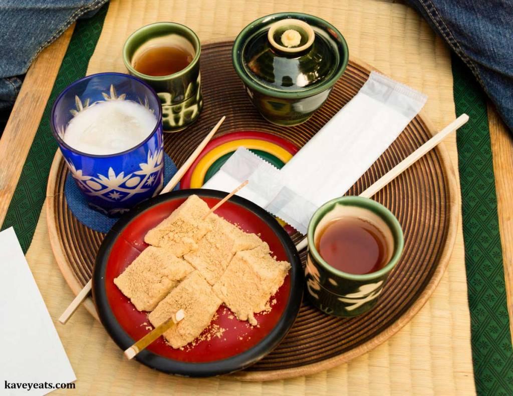 Warabi-mochi dessert, served with Amazake