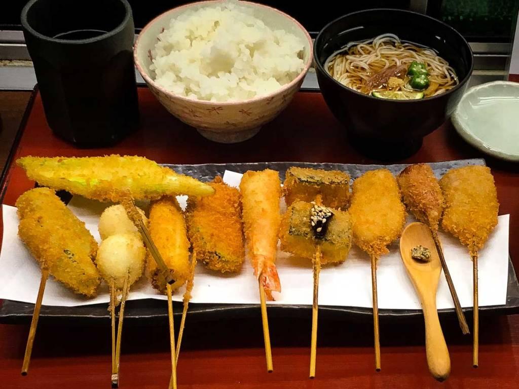 Skewers of Kushikatsu - deep fried meat, seafood or vegetable.