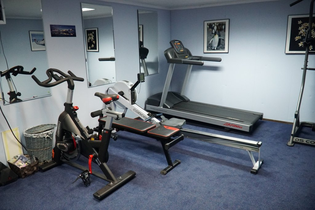 The gym has an exercise bike, a rowing machine, and a treadmill.