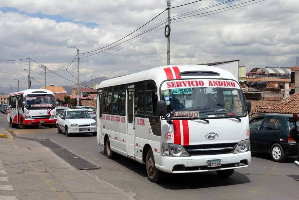 A typical Cusco public bus, or combi