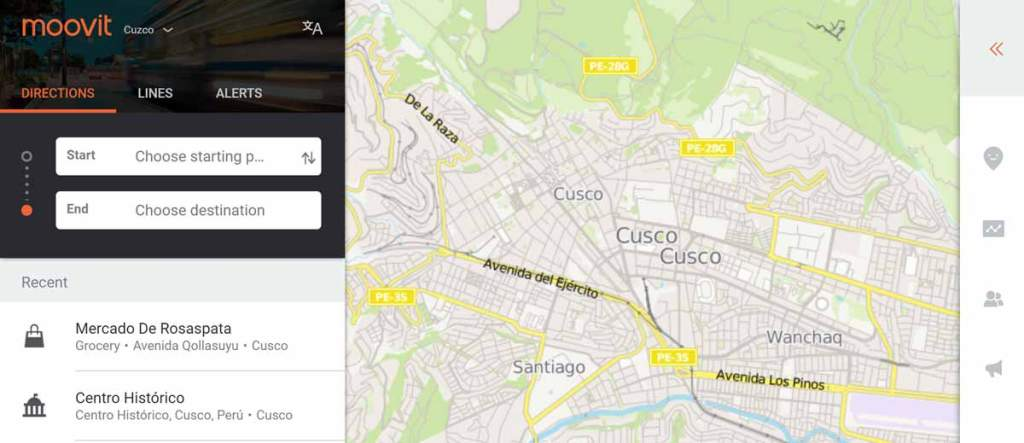 screenshot of the moovit app showing a map of cusco and fields for putting in start and end points for your trip.