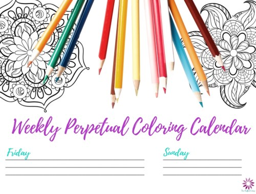 Perpetual Weekly Coloring Calendar