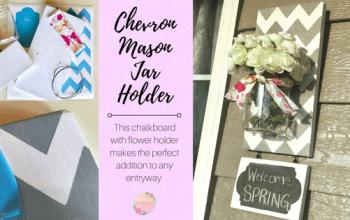 Chevron Mason Jar Holder with Chalkboard