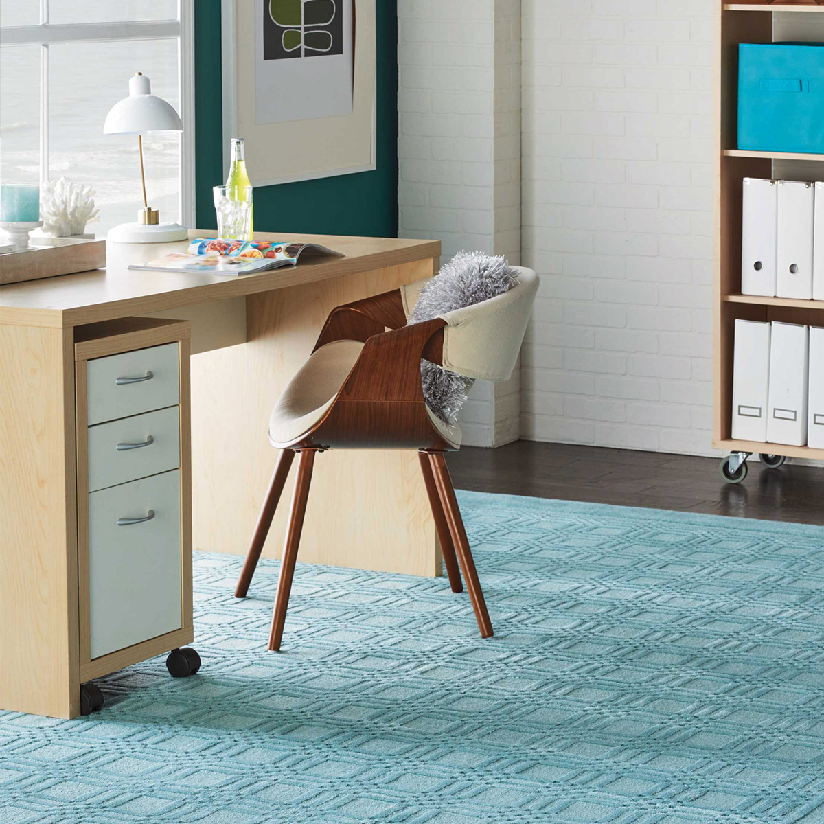 For A More Peaceful Home Office Environment, Aqua Rugs Are A Perfect  Choice. In This Home Office Concept, A Tone On Tone Aqua Westport  Collection Rug Is ...