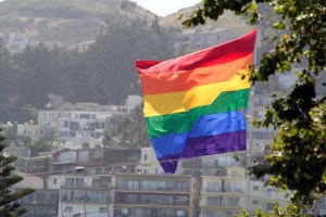 Gay Pride Rainbow Flag Flying in the Wind Over the Castro, San Francisco, California. Image shot 2007. Exact date unknown.