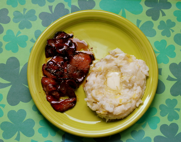 Guinness Glazed Irish Bacon and Colcannon