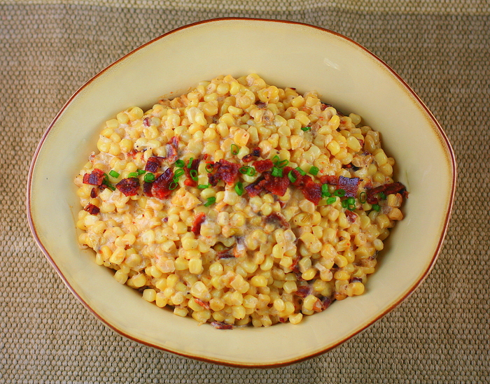 Southern Slow Cooker Creamy Corn with Bacon, Green Onions and Bourbon