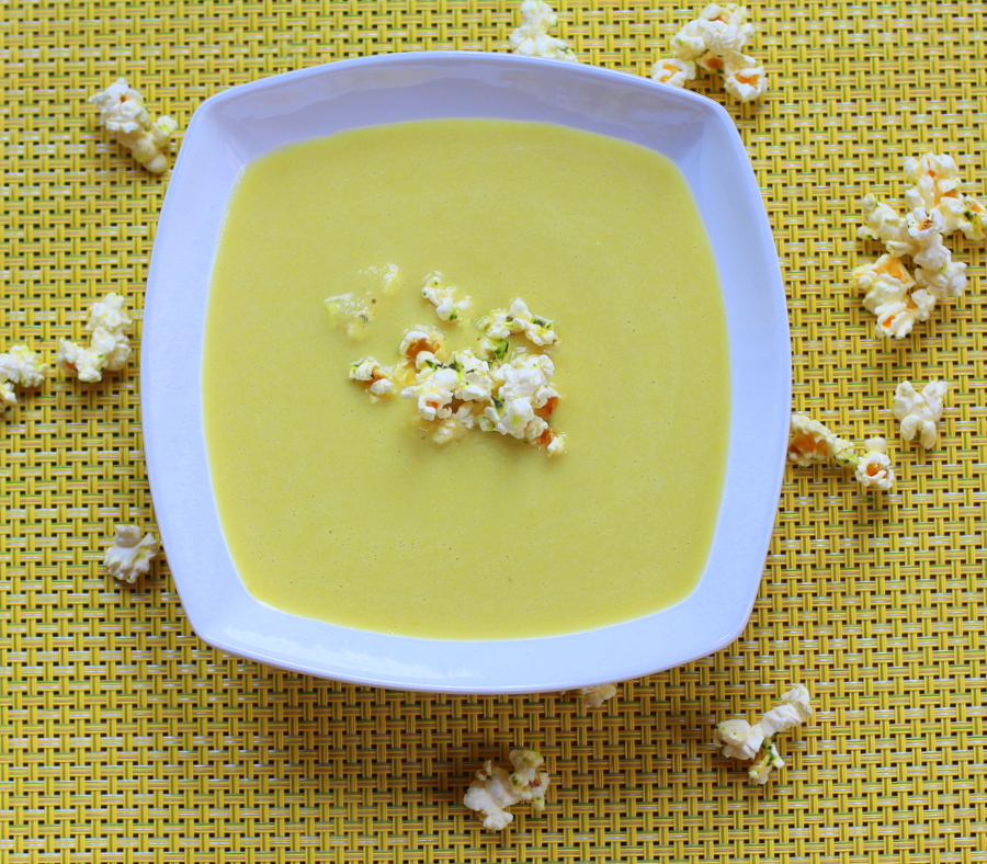 Fresh Corn Bisque with Thyme Buttered Popcorn