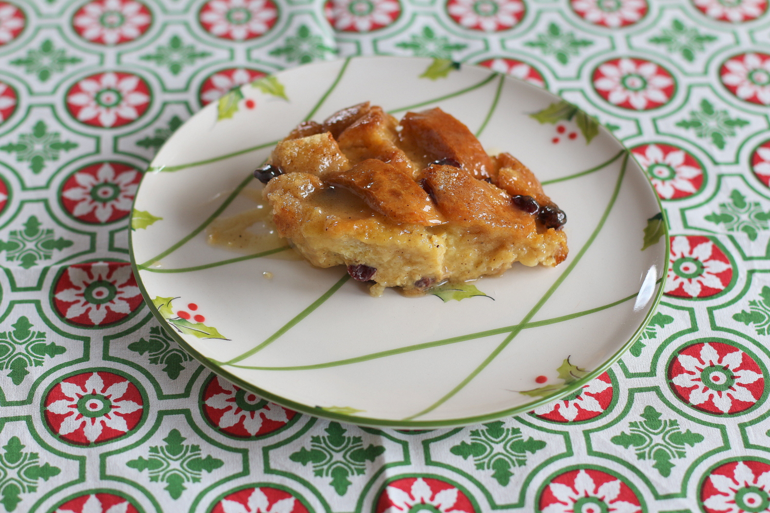 Egg Nog Bread Pudding with Hot Buttered Rum Icing