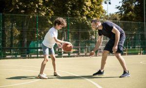 Father & Son Playing Basketball