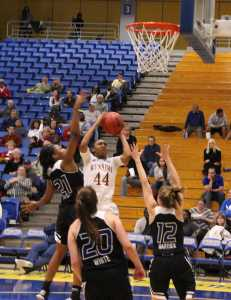 Redshirt-senior guard Tyonna Outland, scores the 1,798th and 1,799th points of her CSUB career, breaking the all-time scoring record, Thursday Jan. 22 at the Icardo Center.