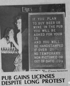 Photo from The Runner Archives A photo from the September 1982 issue of The Runner when The Pub got its license after a long protest.