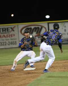 Junior Shortstop Mylz Jones flips the ball to 2nd baseman David Metzgar for the 6-4-3 double play in the top of the 9th inning against Texas Pan-American.