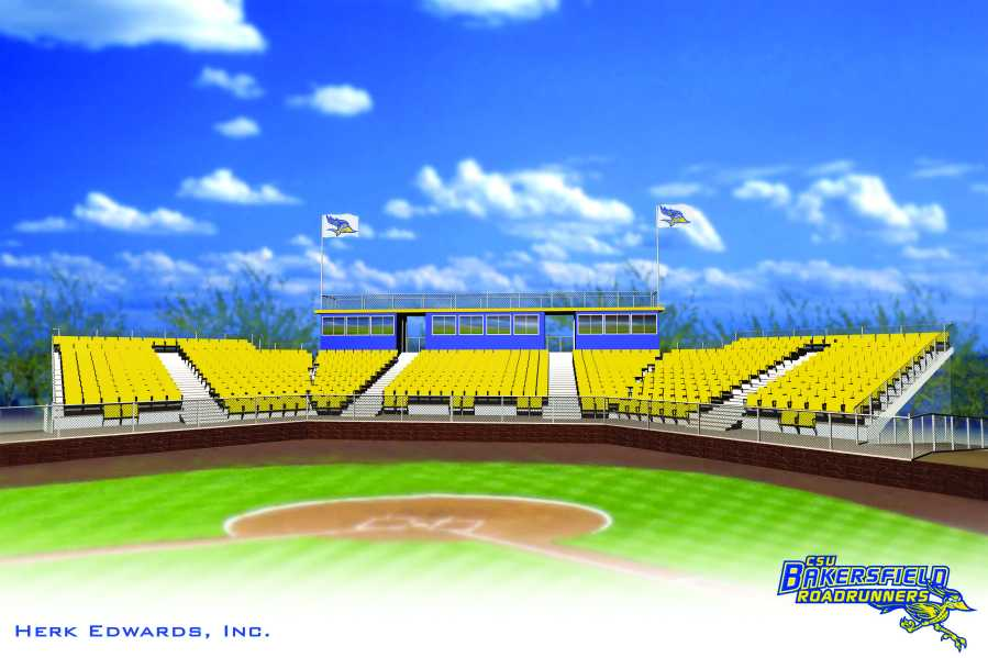 The artist's rendition of what the new press box at CSUB's Hardt Field will look like. Photo courtesy of CSUB Athletics