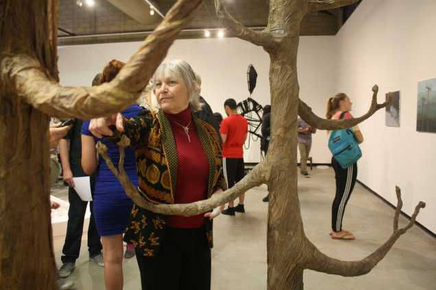 """Katherine Cutts explaining the work behind """"The Tale of Two Trees""""  during the opening of Nexus senior art exhibition on Thursday, May 14 at Todd Madigan Gallery"""