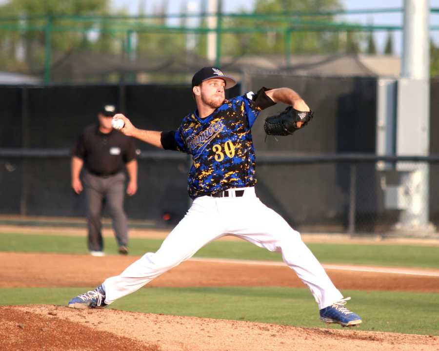 Senior pitcher Hayden Carter went nine innings strong against Mississippi on May 30 at Jackie Robinson Stadium. That was his eighth complete game of the year. Photo by AJ Alvarado/The Runner