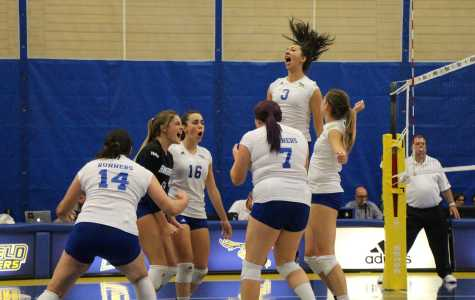 The CSUB volleyball team celebrates after scoring a point against Seattle University on Thursday in the Icardo Center.