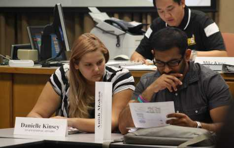ASI board members Danielle Kinsey and Anish Mohan analyze a document during the ASI meeting on Friday, Oct. 30. Photo by Karina Diaz/The Runner