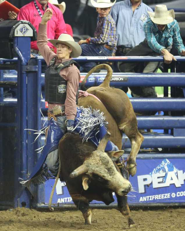 Eric Lee stays on top of MJ Red Zone during the even at Rabobank Arena on Saturday, Nov. 21.