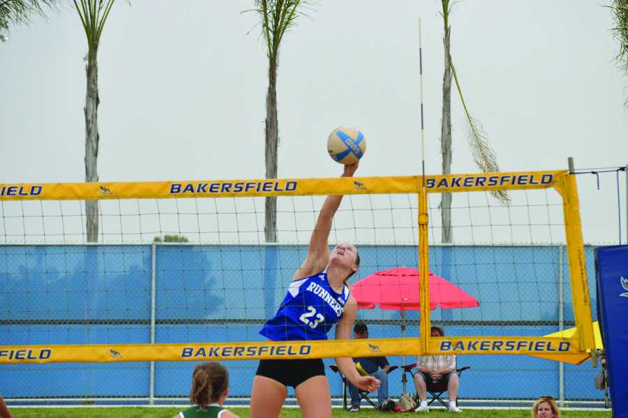 CSUB junior Katie Dunbar-Lowe spikes the ball on Thursday in its loss against Sacramento State University.
