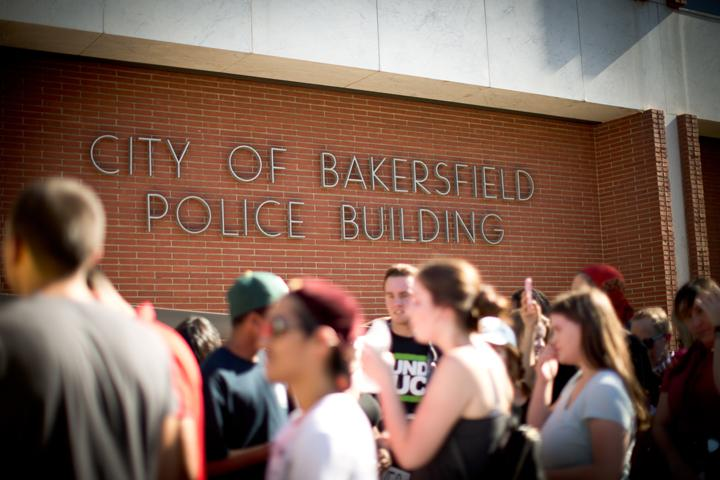 The protest concluded with a stop in front of the  Bakersfield Police Department building where various speeches were given on Saturday, July 9. Photo by AJ Alvarado/The Runner