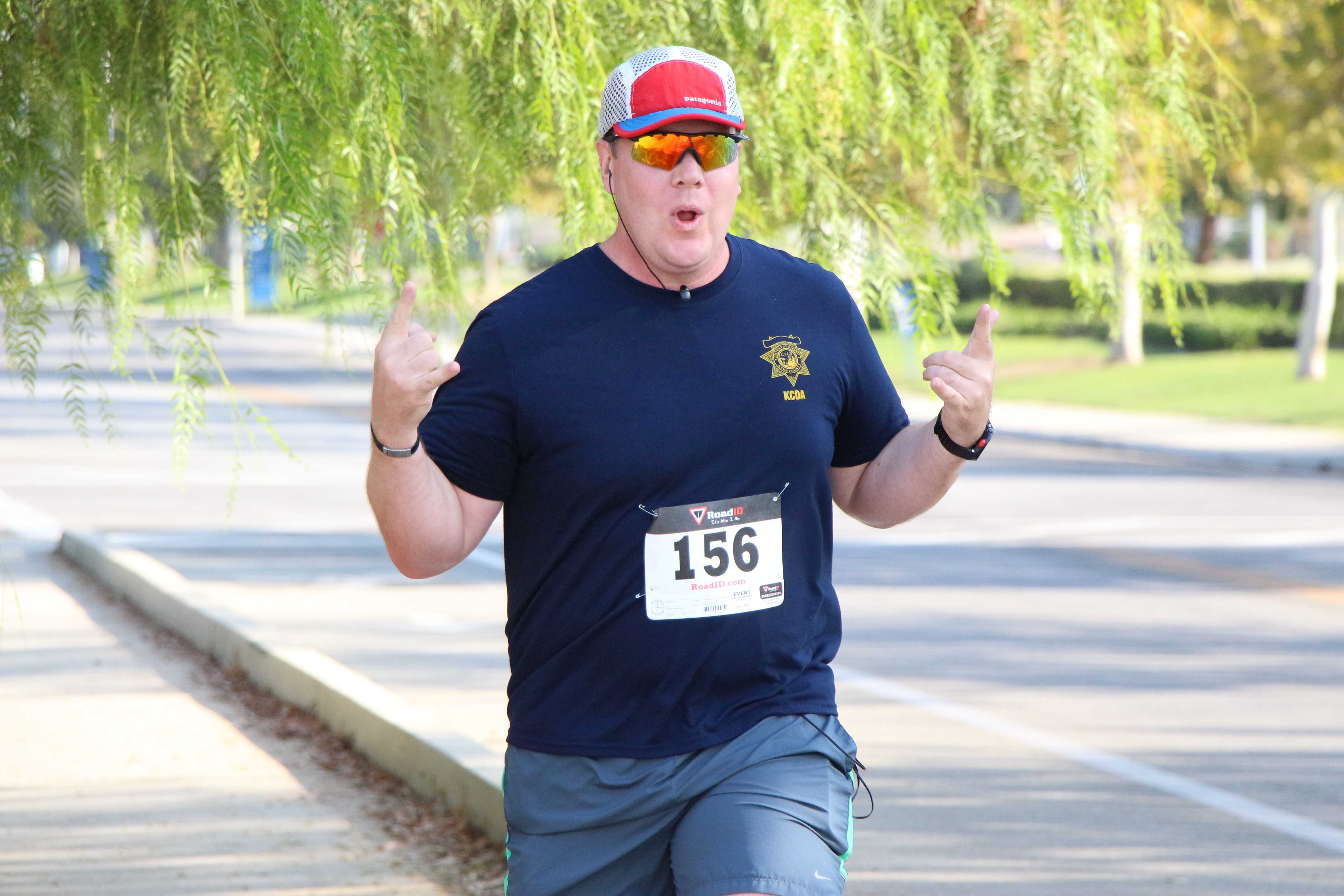 Brandon Stallings nearing the finish line of the Bring out the Bling 5K Fun Run at CSUB on Saturday.  Photo by Alejandra Flores/ The Runner