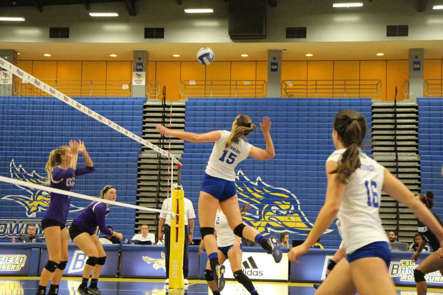 CSUB redshirt-sophomore middle hitter Marina Sanches prepares to spike the ball during the 2016 season against Grand Canyon University at the Icardo Center. Photo by Allison Lechman/The Runner