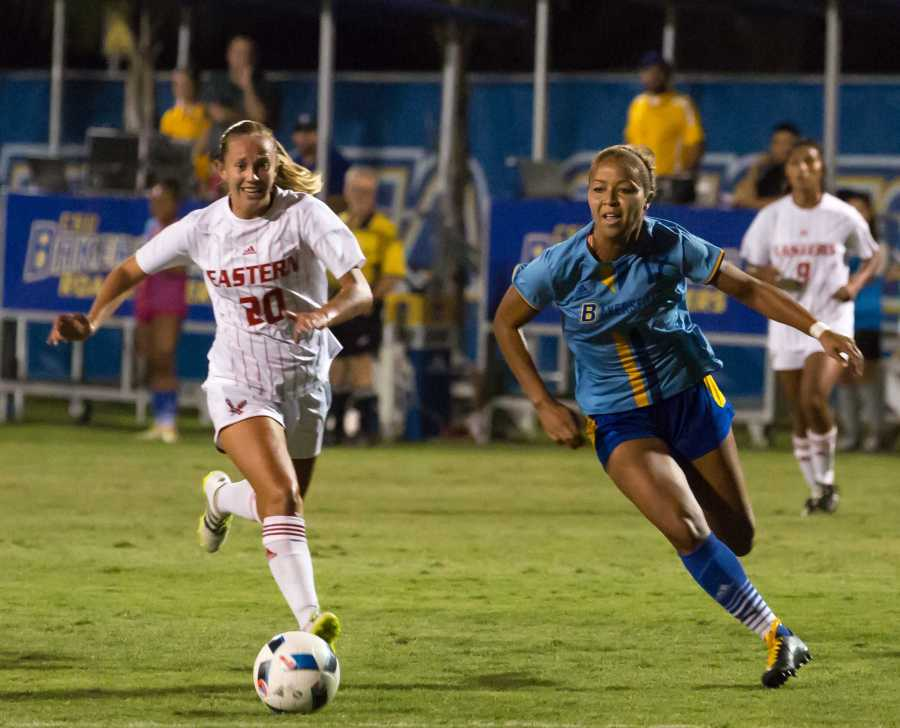 Kiana Hafferty and Bakersfield's Aminah Settles battle for the ball in the first half of Friday's game at the CSUB main soccer field.  Ben Patton/ The Runner