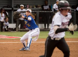 CSUB's Amber Mills attempts to throw out a New Mexico State player at last year's Western Athletic Conference Softball Tournament. Photo by Joe Whiteside/Western Athletic Conference
