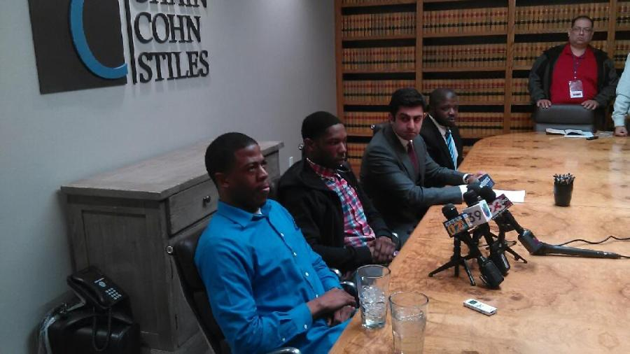 From left to right: BC students Timothy Grismore and Xavier Hines sit with attorney Neil K. Gehlawat and NAACP Bakersfield President Patrick Jackson as they answer questions during a press conference at Chain Cohn Stiles in downtown Bakersfield Wednesday, Jan. 25. Photo by Esteban Ramirez/The Runner
