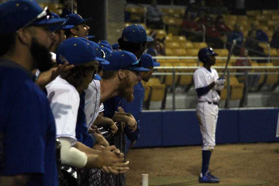 CSUB+junior+Naithen+Dewsnap+cheers+on+his+teammates+during+the+game+against+Nebraska+Tuesday%2C+March+21.%0APhoto+by+Esteban+Ramirez%2FThe+Runner
