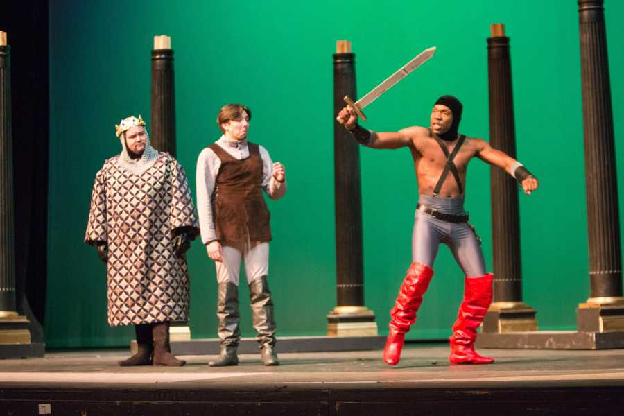 Anthony Jauregui (left) plays King Charles, alongside Warren Dakota Nash (center) who plays Pippin and Judd Johnson who plays Lewis in the musical. Photo by AJ Alvarado/ The Runner