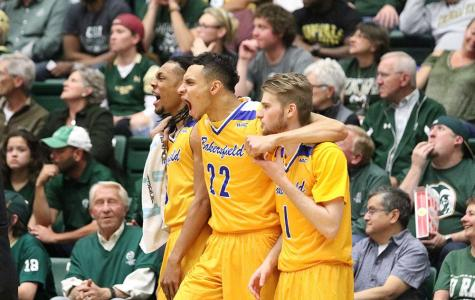 The CSUB bench celebrates during its second round victory over Colorado State University in Fort Collins, Colorado.  Photo courtesy of Javon Harris/The Rocky Mountain Collegian at Colorado State University