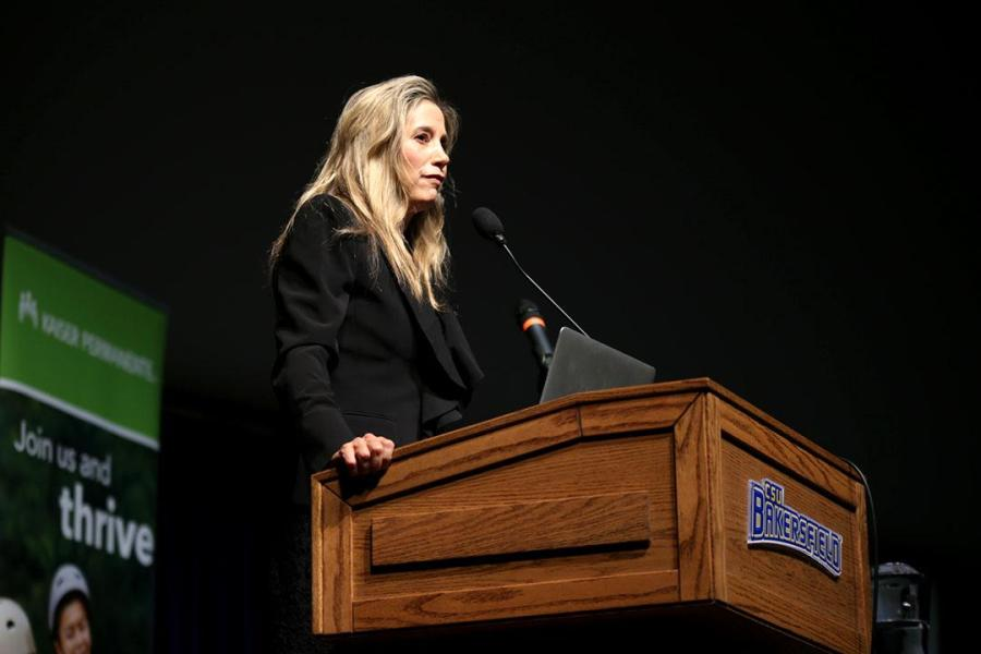 United Nations goodwill ambassador Mira Sorvino served as the guest lecturer for the 31st annual Charles W. Kegley memorial lecture on Tuesday, April 18.  By Karina Diaz/ The Runner