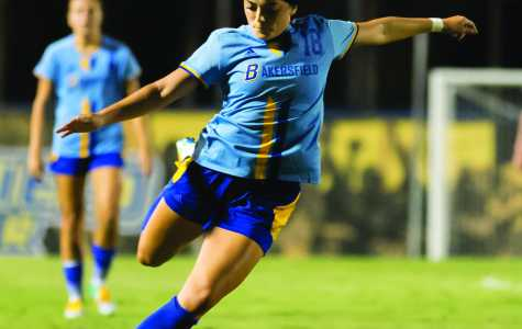 Junior midfielder Sabrina Delgado lines up a shot during a game in the 2016 season. Delgado led CSUB in goals scored. Photo by Runner Archives.