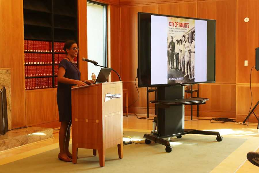 The Kegley hosted Dr. Kelly Lytle Hernàndez who spoke about Mexican incarceration on Oct. 6 in the Dezember Reading Room.  Photo by Shelby Parker/ The Runner